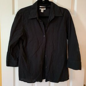 Talbots 3/4 sleeve blouse button down